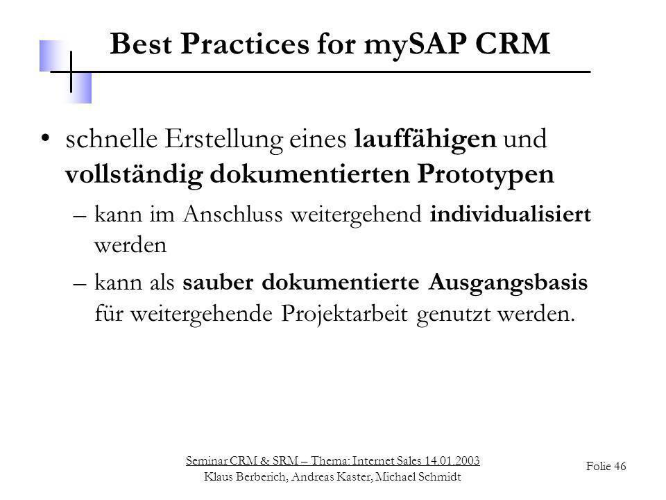 Best Practices for mySAP CRM