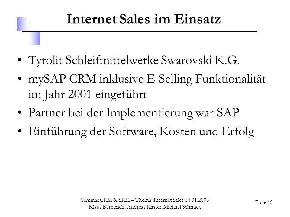 Internet Sales im Einsatz