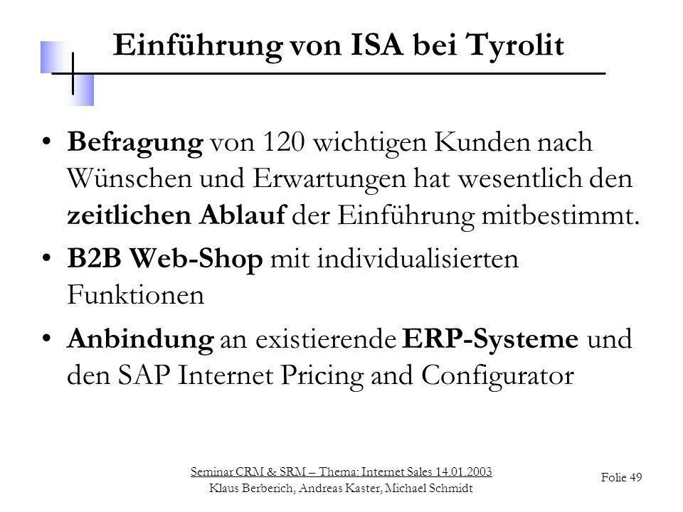 Einführung von ISA bei Tyrolit