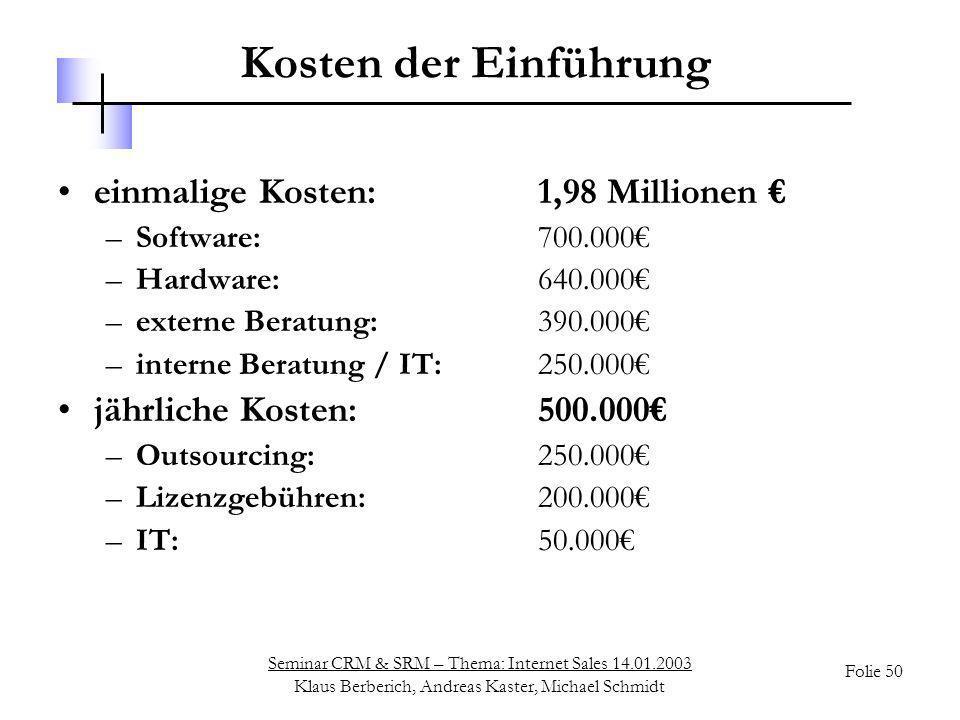 Kosten der Einführung einmalige Kosten: 1,98 Millionen €