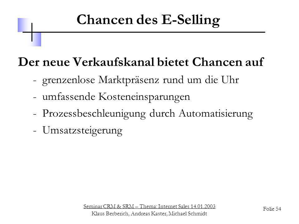 Chancen des E-Selling Der neue Verkaufskanal bietet Chancen auf