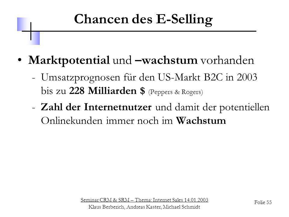 Chancen des E-Selling Marktpotential und –wachstum vorhanden