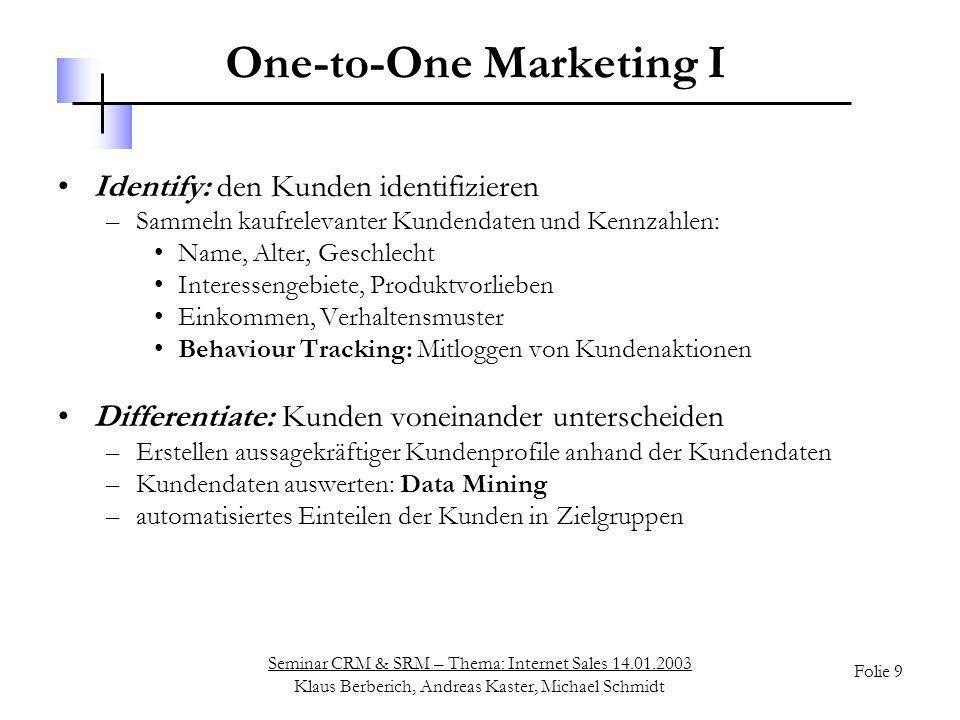 One-to-One Marketing I
