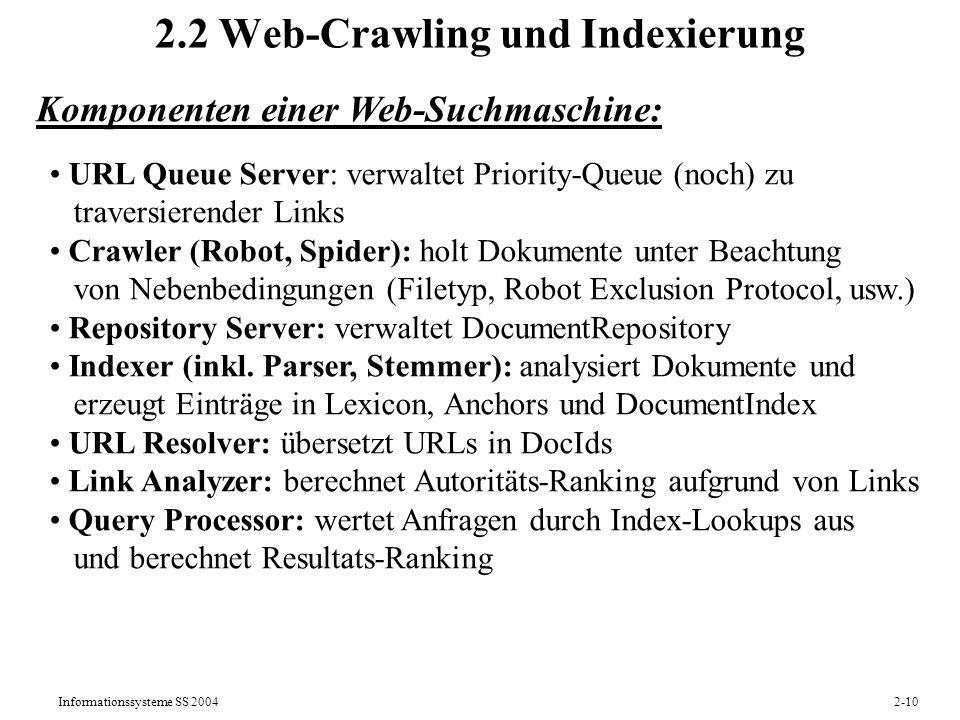 2.2 Web-Crawling und Indexierung