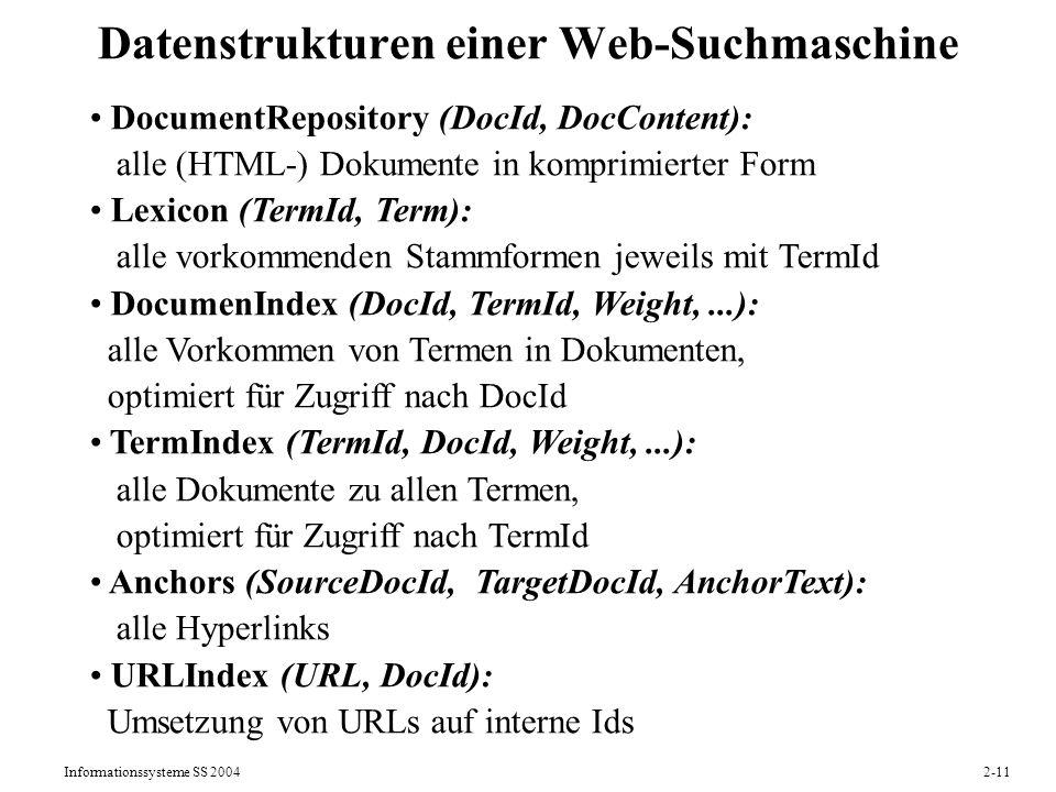 Datenstrukturen einer Web-Suchmaschine
