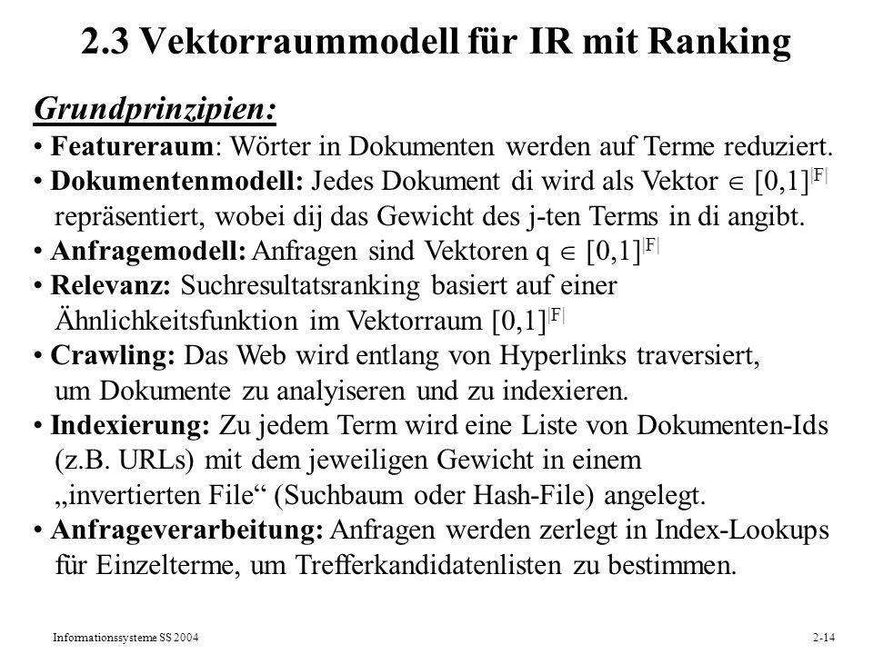 2.3 Vektorraummodell für IR mit Ranking