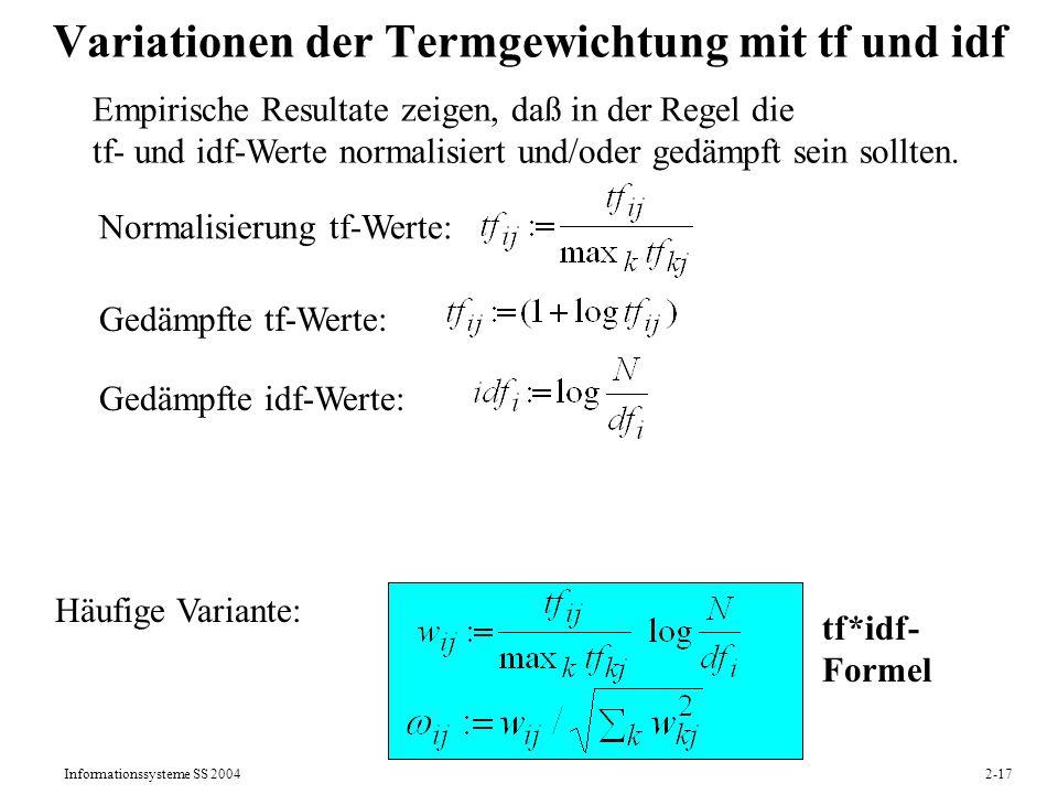 Variationen der Termgewichtung mit tf und idf