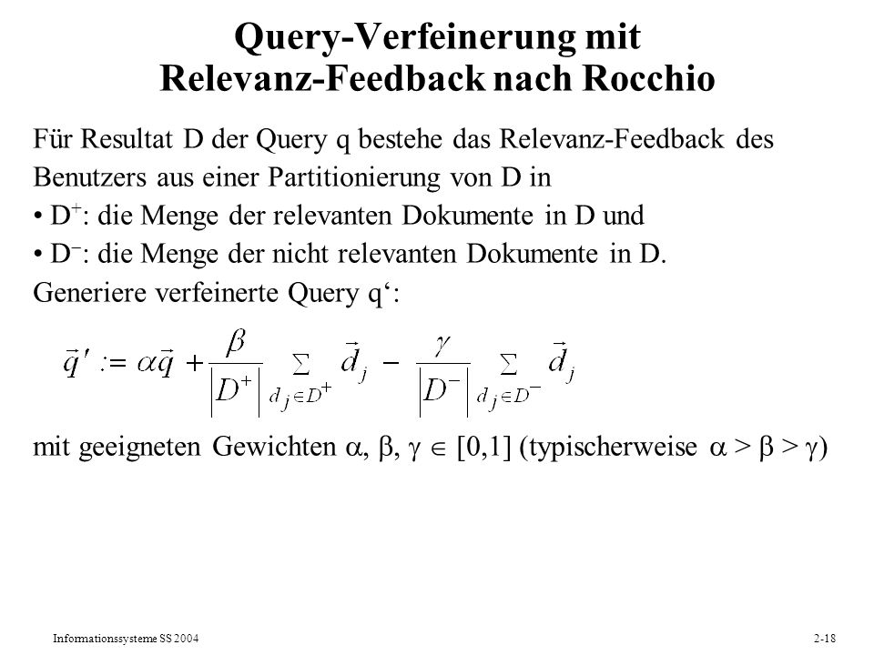 Query-Verfeinerung mit Relevanz-Feedback nach Rocchio