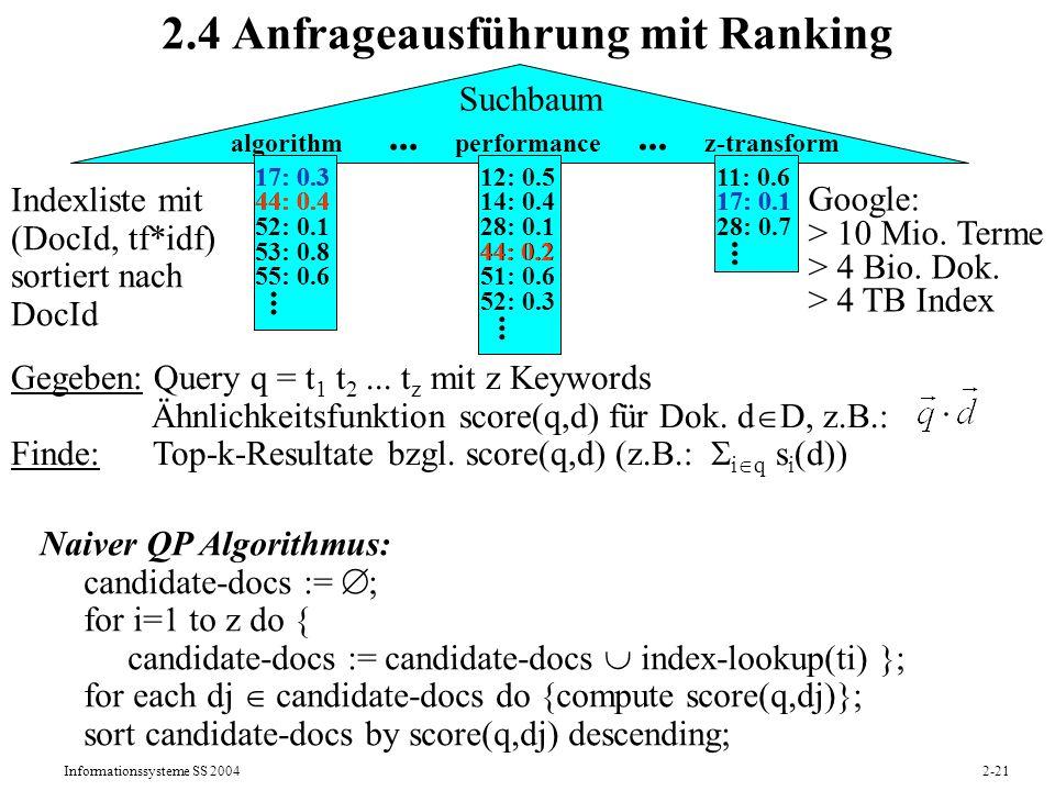 2.4 Anfrageausführung mit Ranking
