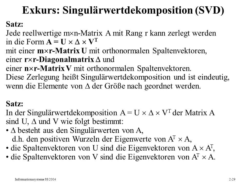 Exkurs: Singulärwertdekomposition (SVD)