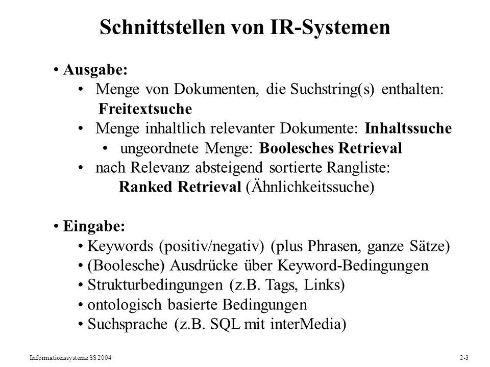 Schnittstellen von IR-Systemen