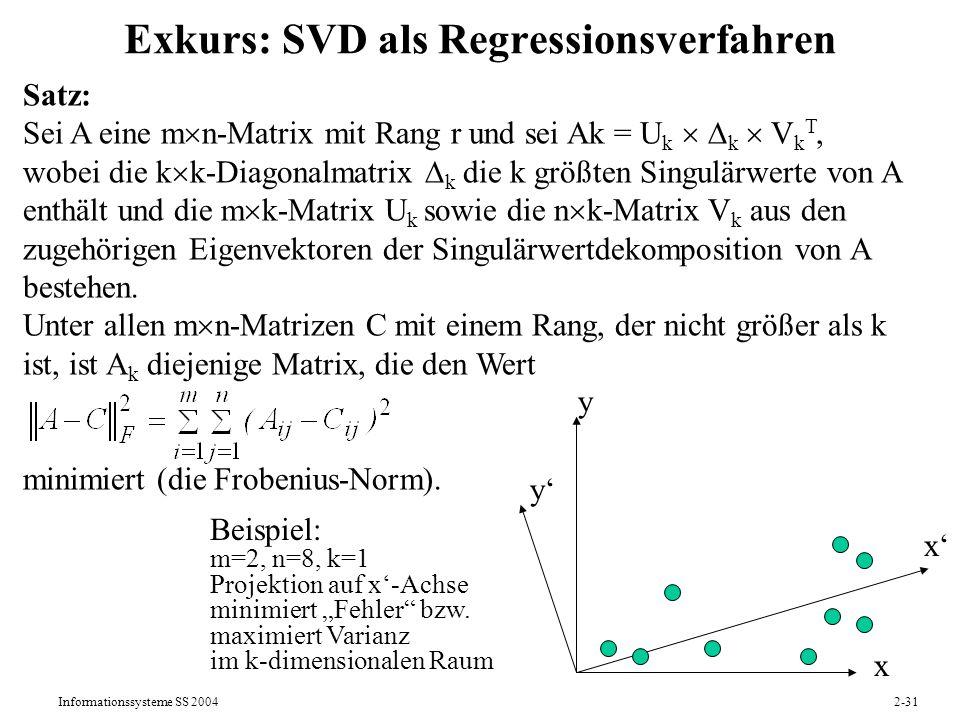Exkurs: SVD als Regressionsverfahren
