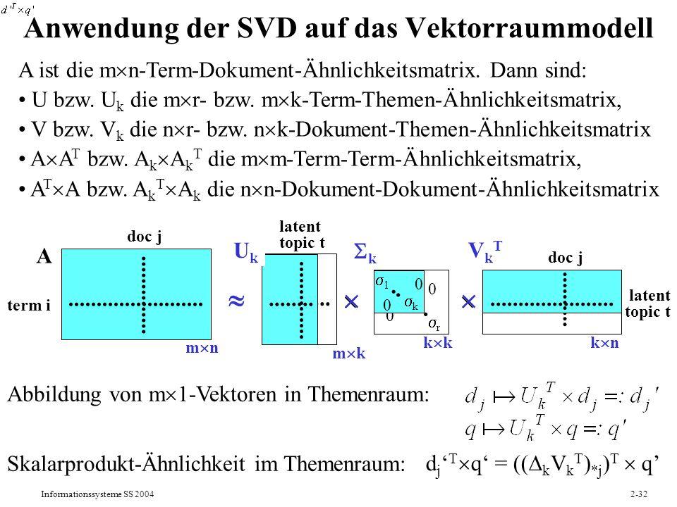 Anwendung der SVD auf das Vektorraummodell