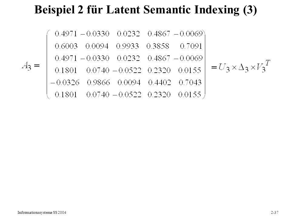 Beispiel 2 für Latent Semantic Indexing (3)