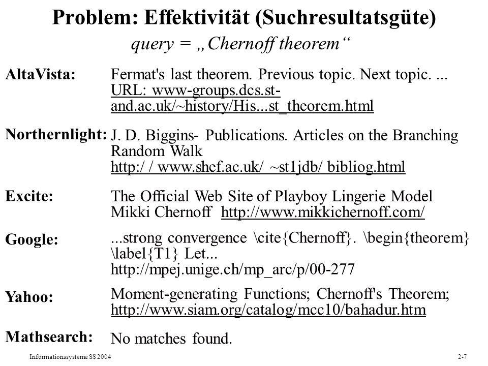 Problem: Effektivität (Suchresultatsgüte)