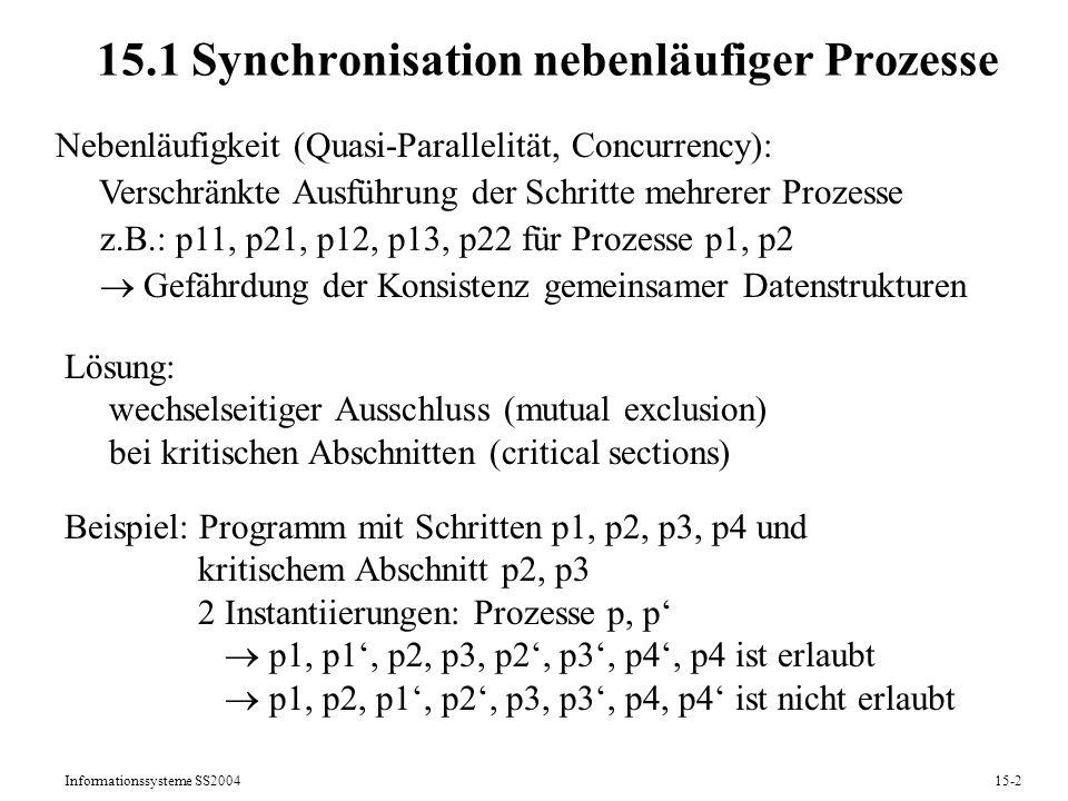 15.1 Synchronisation nebenläufiger Prozesse