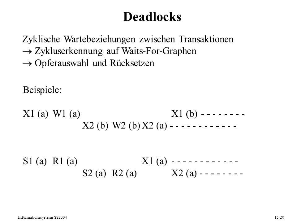 Deadlocks Zyklische Wartebeziehungen zwischen Transaktionen