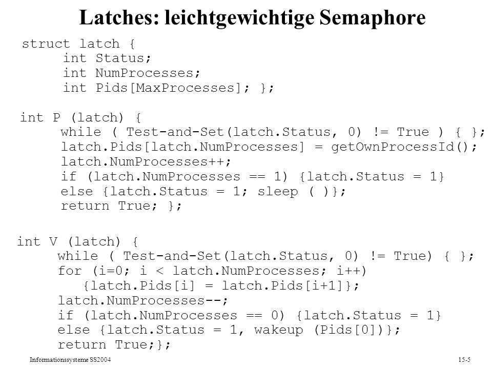 Latches: leichtgewichtige Semaphore