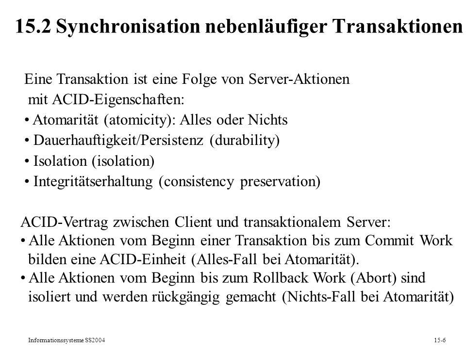 15.2 Synchronisation nebenläufiger Transaktionen