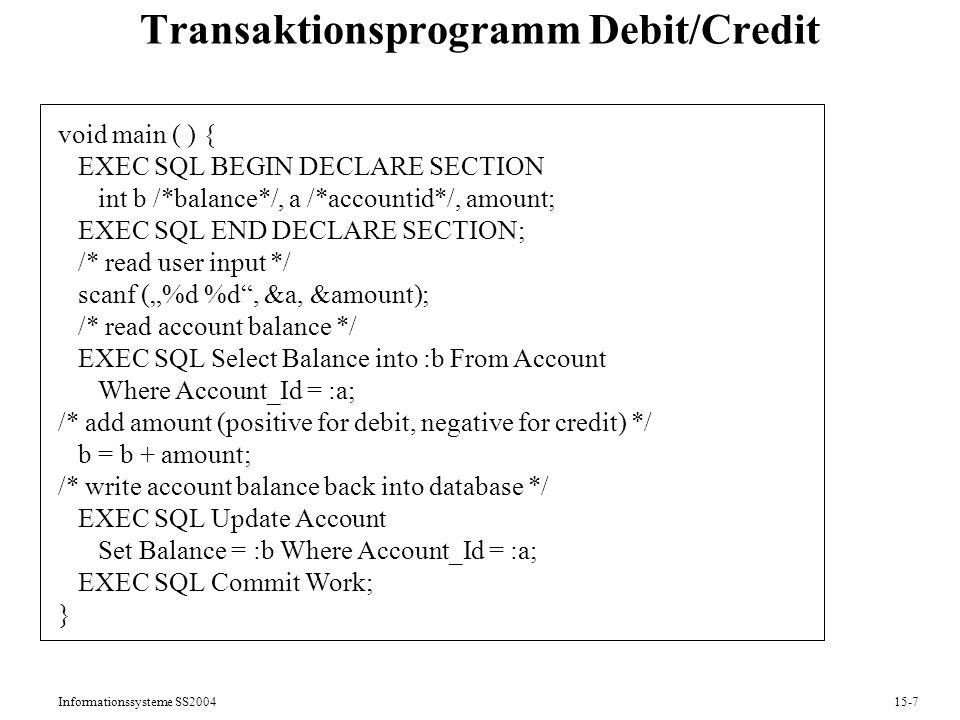 Transaktionsprogramm Debit/Credit