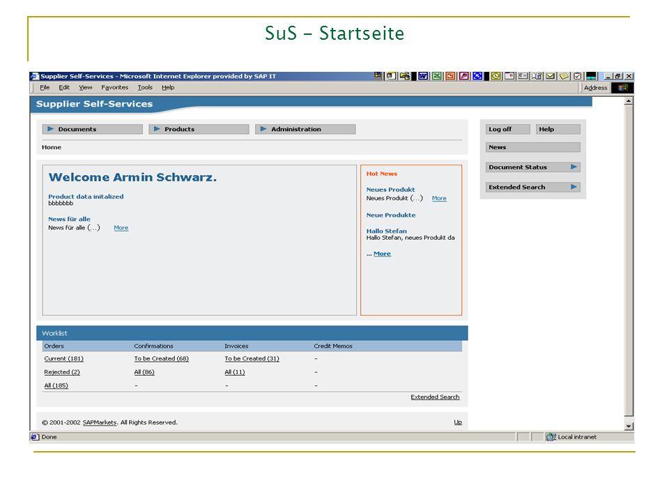 SuS - Startseite Documents: Aufträge bearbeiten, Rechnungen schreiben