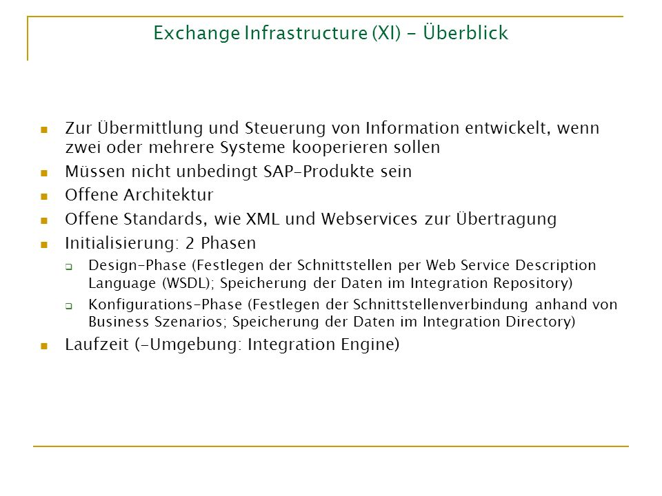 Exchange Infrastructure (XI) - Überblick