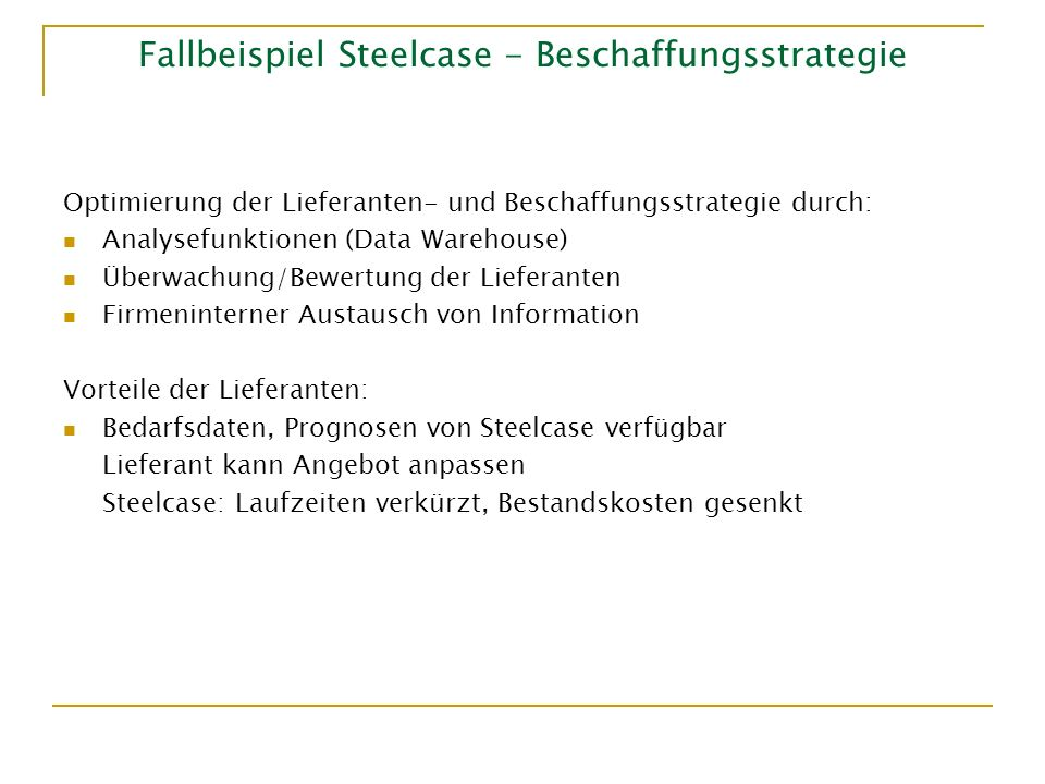 Fallbeispiel Steelcase - Beschaffungsstrategie