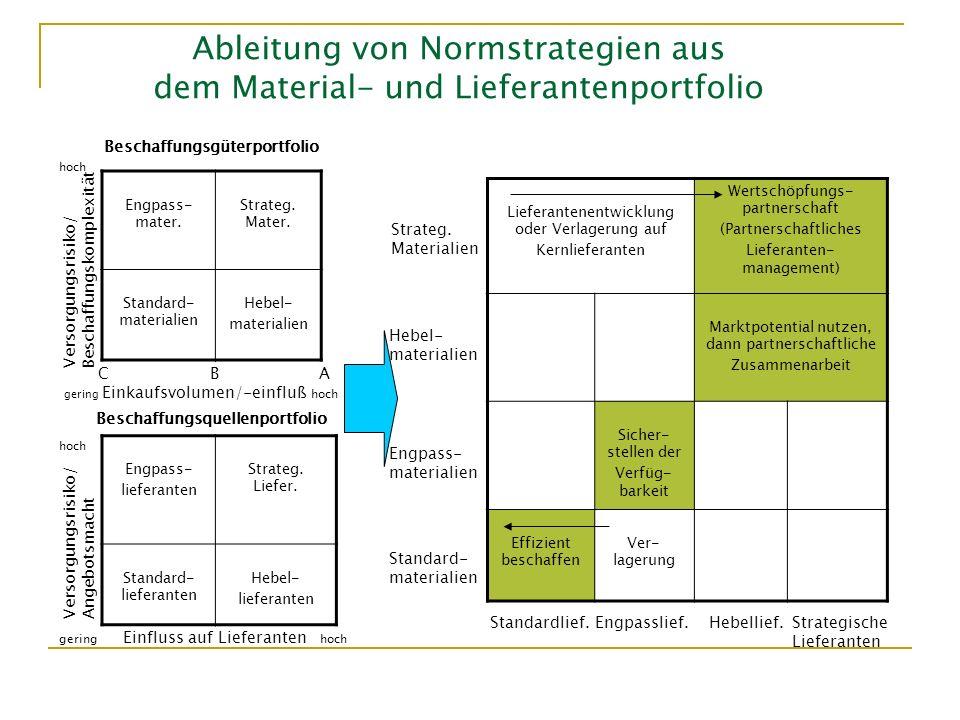 Ableitung von Normstrategien aus dem Material- und Lieferantenportfolio