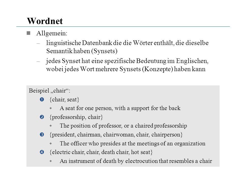 Wordnet Allgemein: linguistische Datenbank die die Wörter enthält, die dieselbe Semantik haben (Synsets)