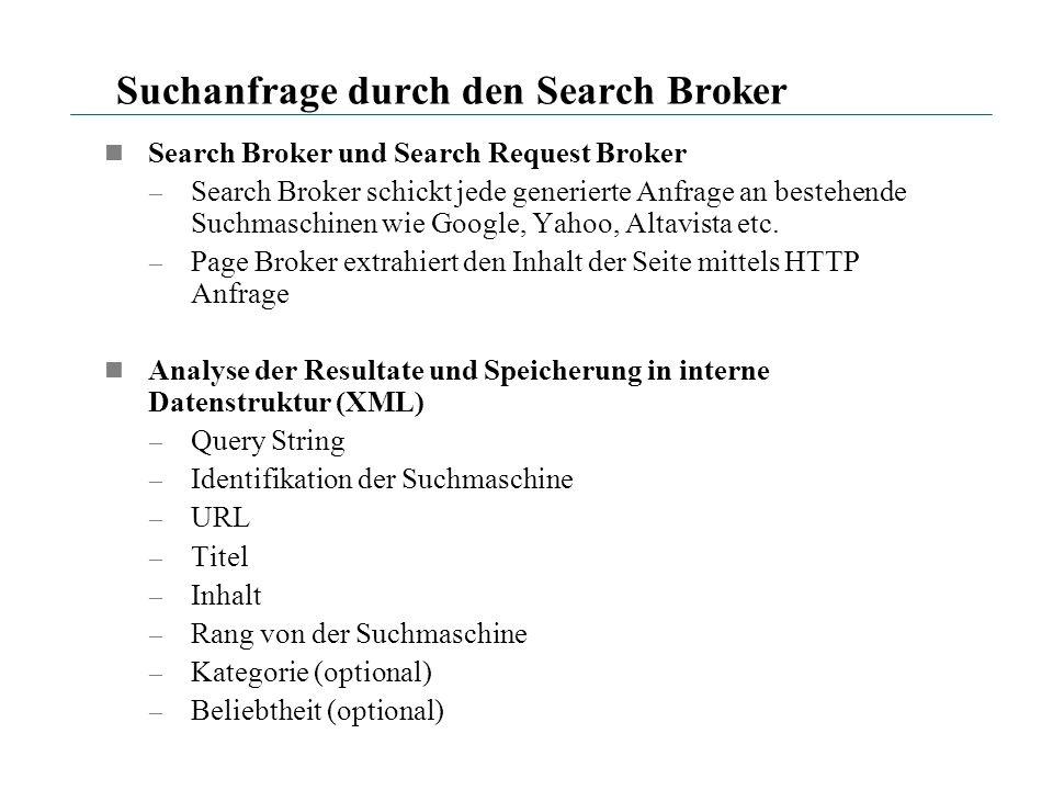Suchanfrage durch den Search Broker