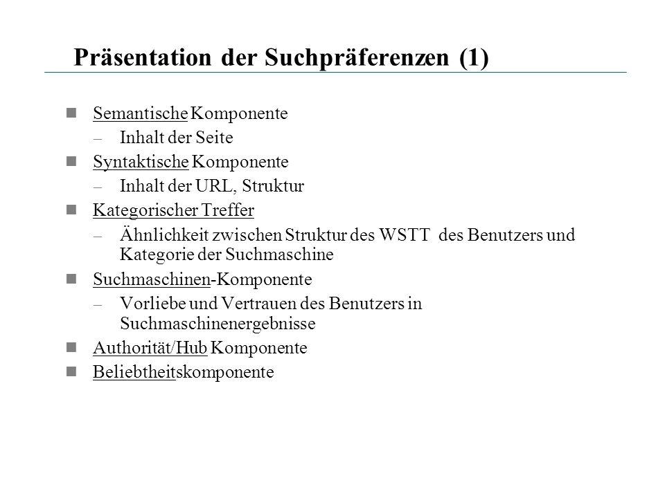 Präsentation der Suchpräferenzen (1)