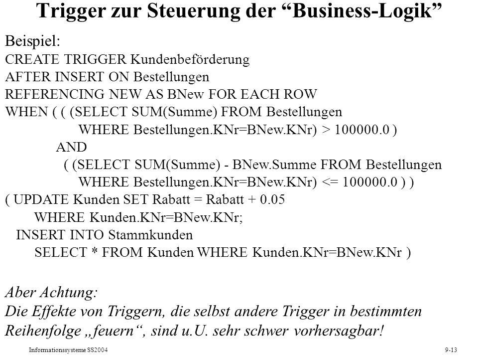 Trigger zur Steuerung der Business-Logik