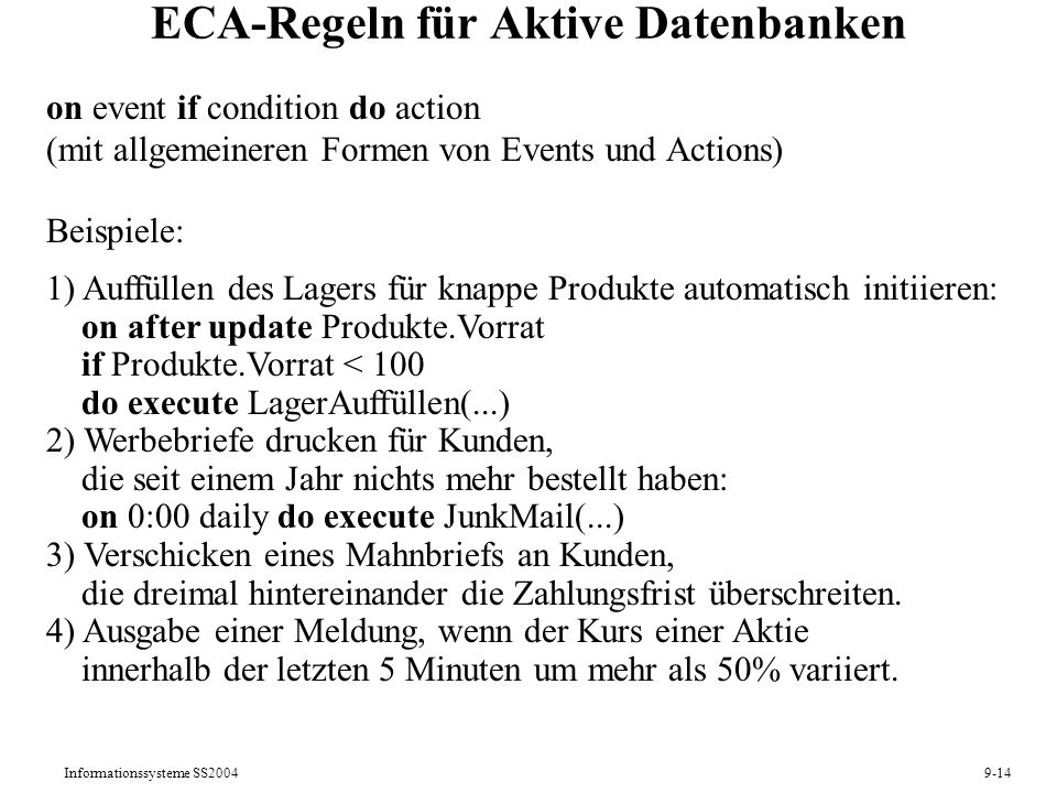 ECA-Regeln für Aktive Datenbanken