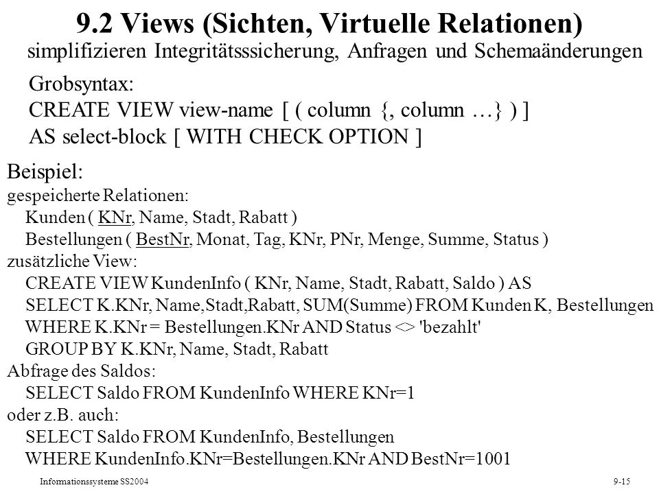 9.2 Views (Sichten, Virtuelle Relationen)