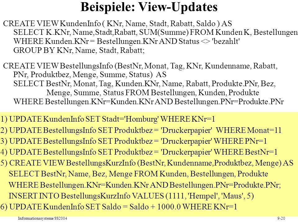 Beispiele: View-Updates