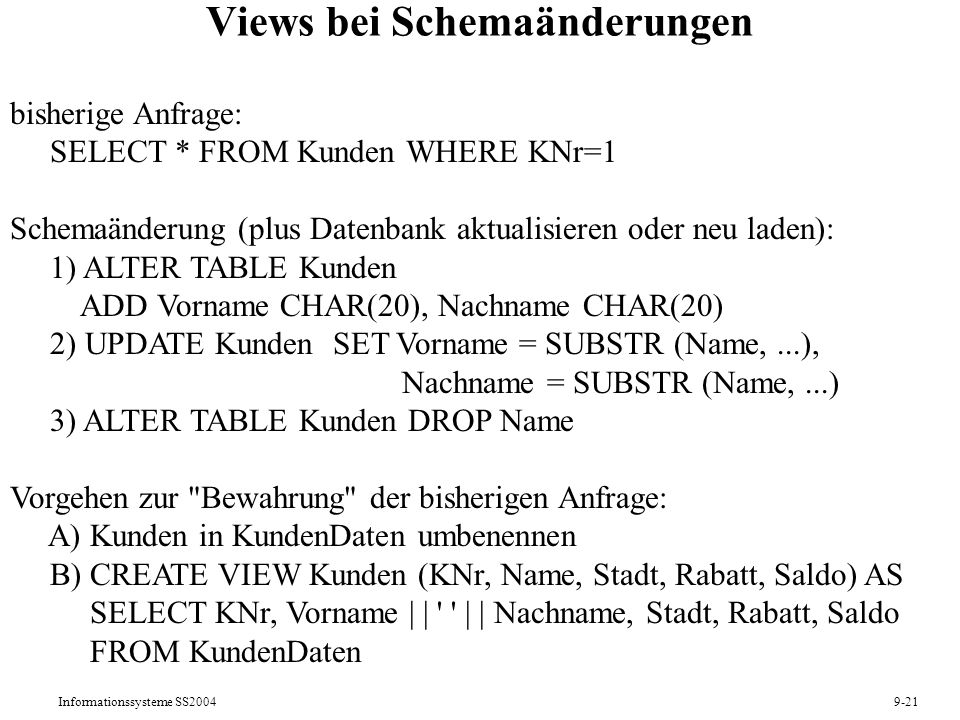 Views bei Schemaänderungen
