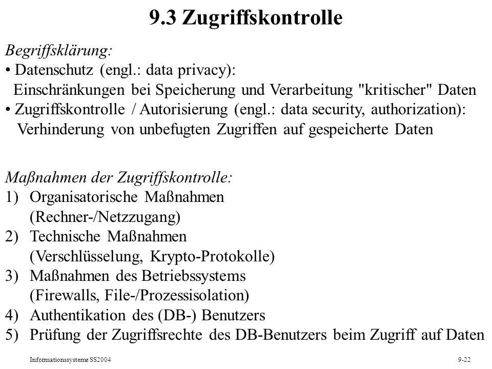 9.3 Zugriffskontrolle Begriffsklärung: