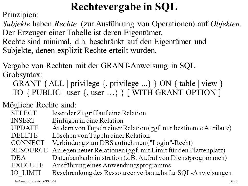 Rechtevergabe in SQL Prinzipien: Subjekte haben Rechte (zur Ausführung von Operationen) auf Objekten.