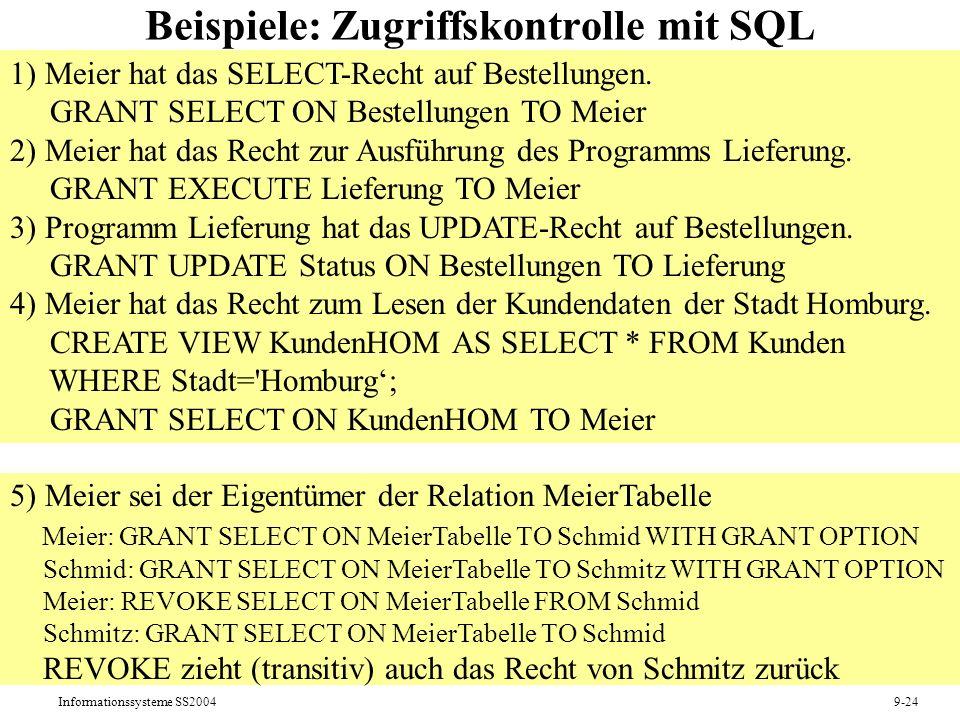 Beispiele: Zugriffskontrolle mit SQL