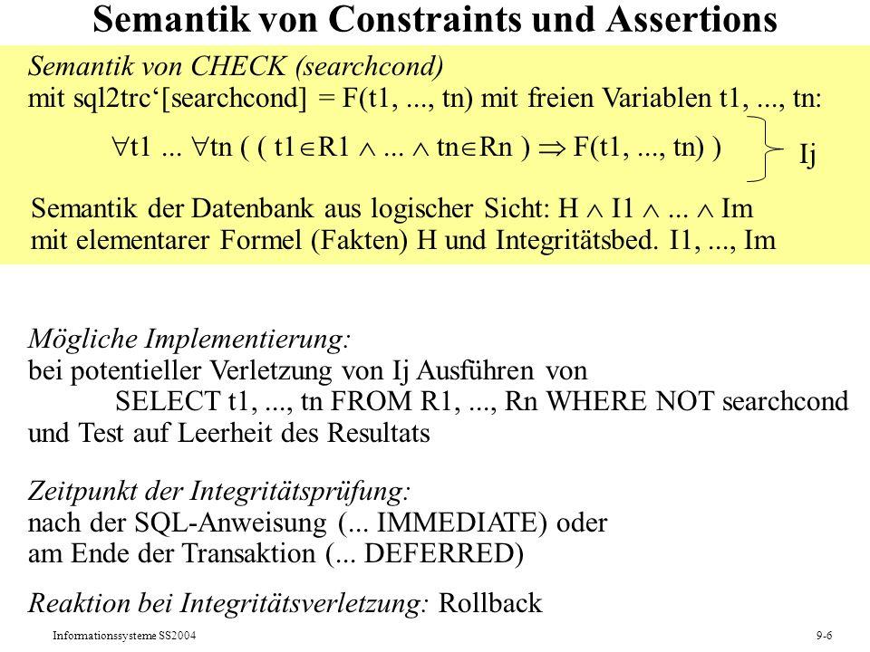 Semantik von Constraints und Assertions