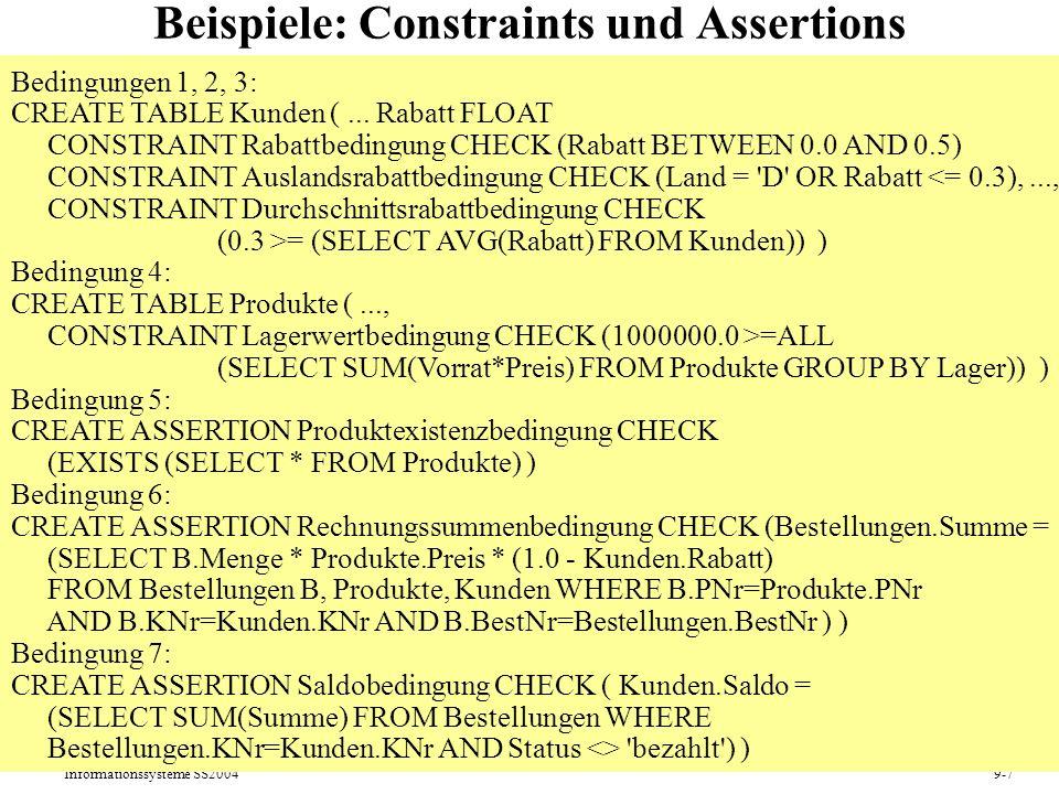 Beispiele: Constraints und Assertions