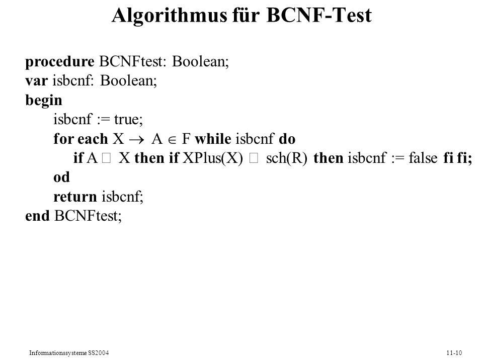 Algorithmus für BCNF-Test