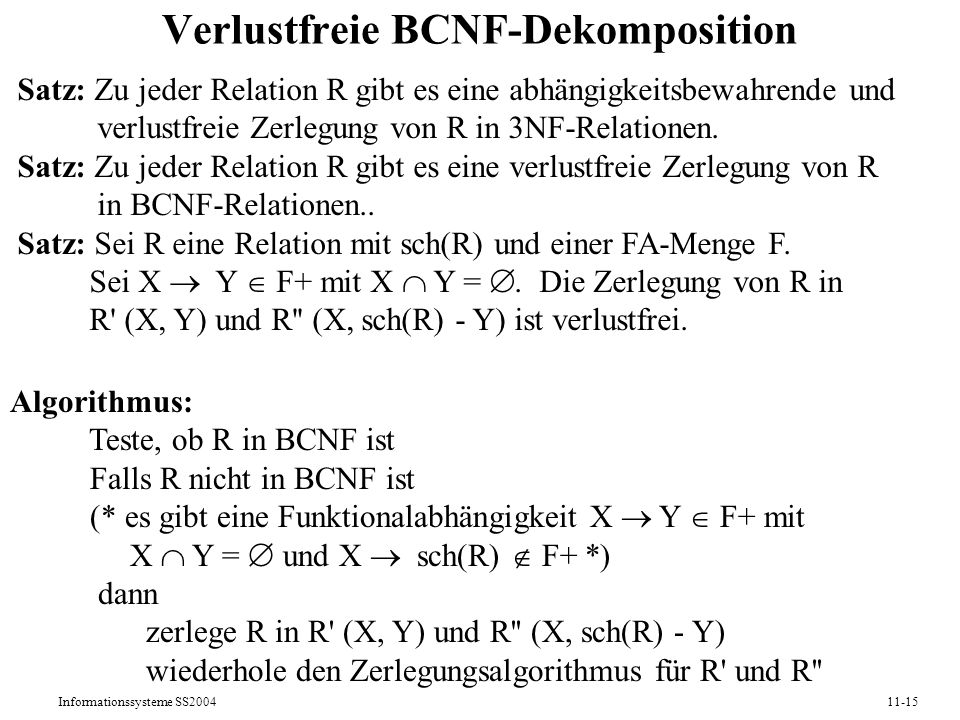 Verlustfreie BCNF-Dekomposition