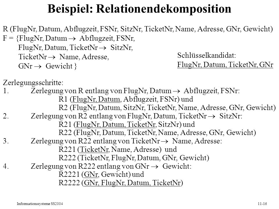 Beispiel: Relationendekomposition