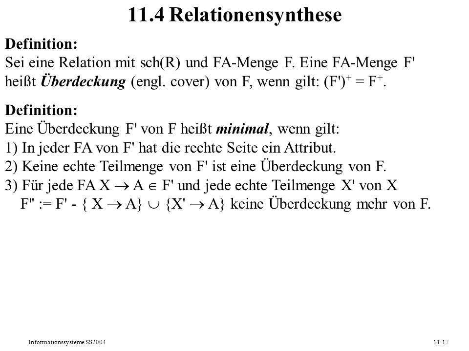 11.4 Relationensynthese Definition:
