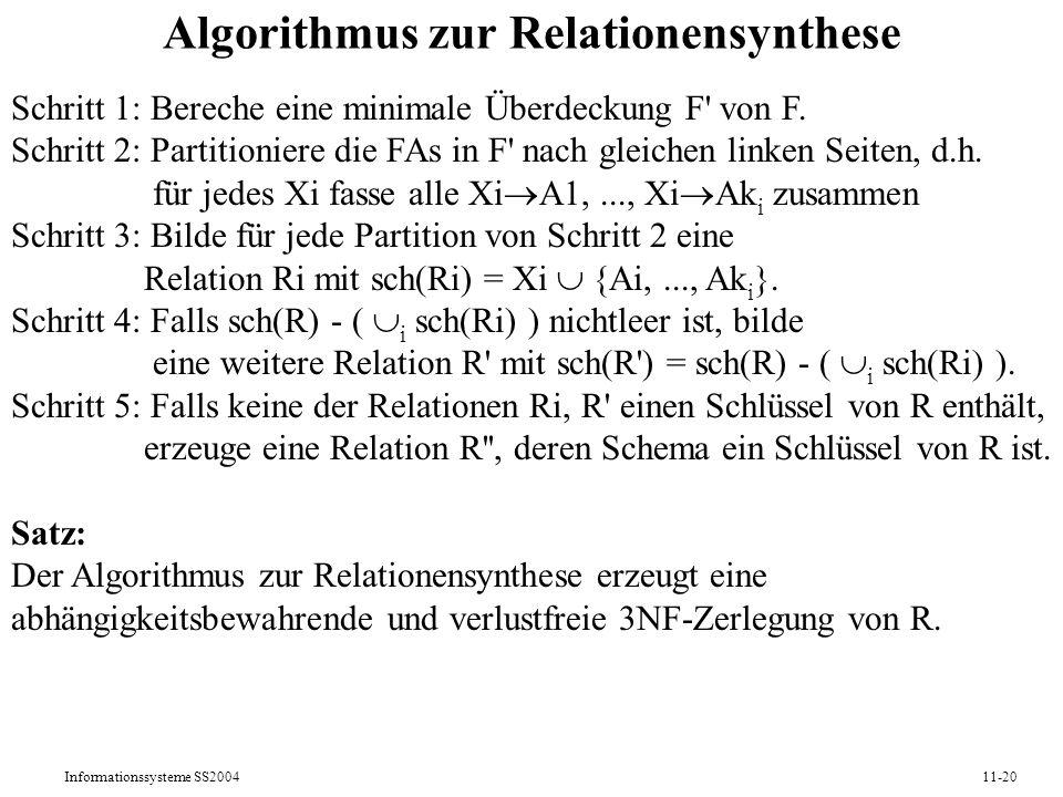 Algorithmus zur Relationensynthese