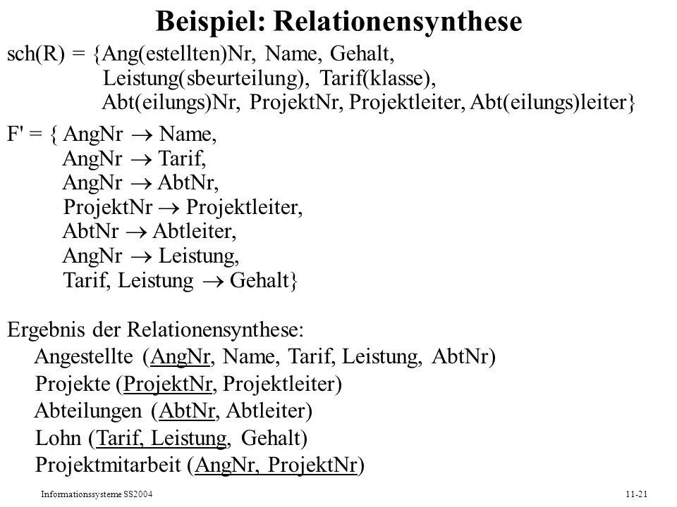 Beispiel: Relationensynthese