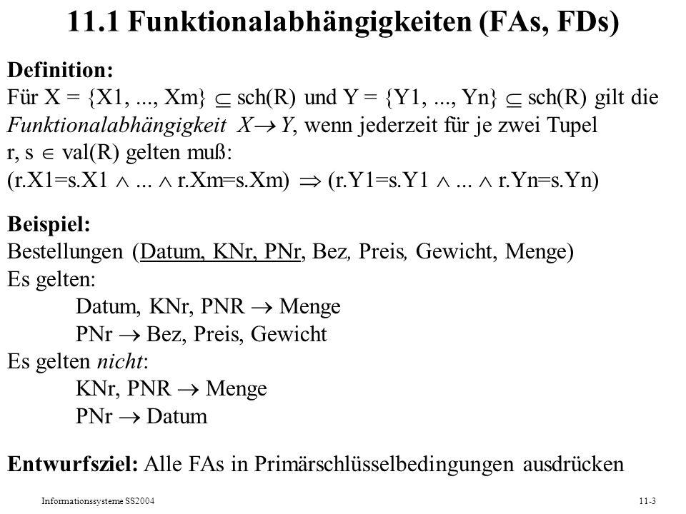 11.1 Funktionalabhängigkeiten (FAs, FDs)