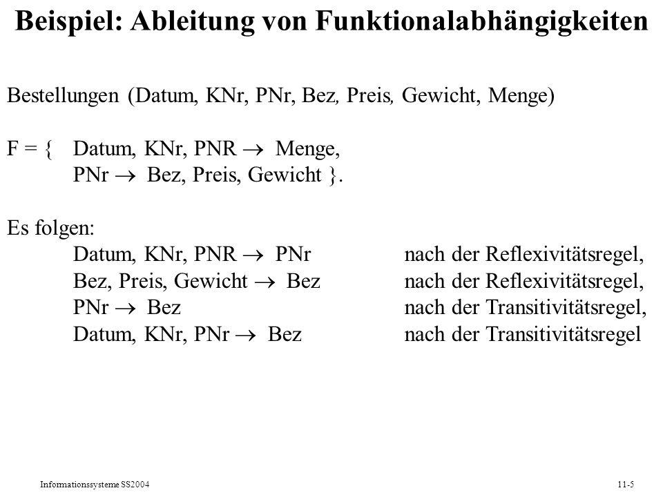Beispiel: Ableitung von Funktionalabhängigkeiten