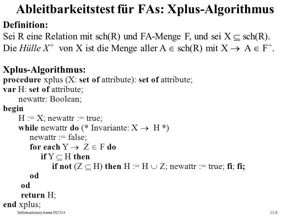 Ableitbarkeitstest für FAs: Xplus-Algorithmus